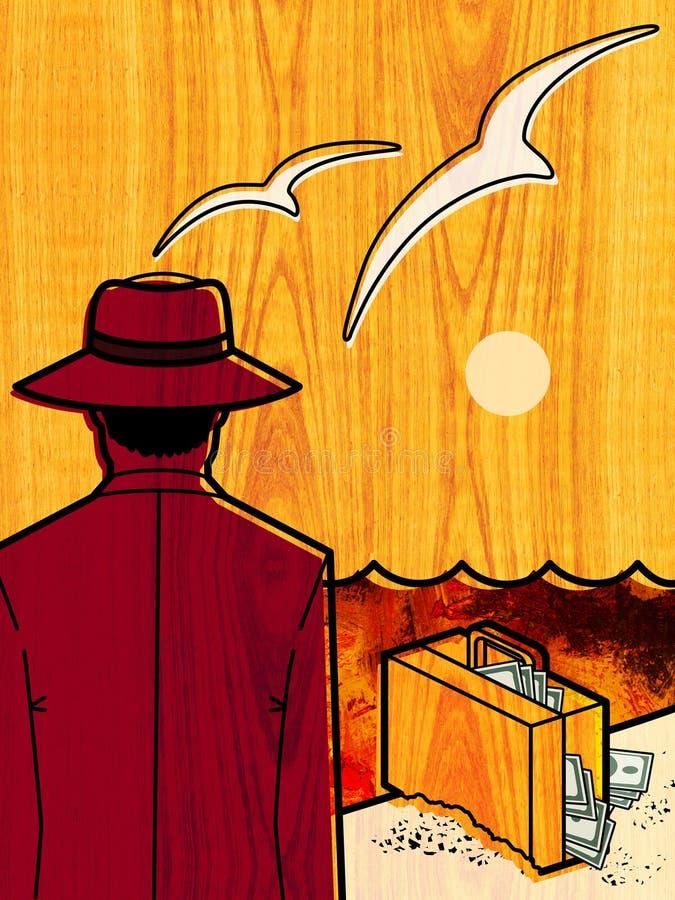 Resto por el mar Hombre en un sombrero, con su de nuevo al espectador, soportes en el borde del mar contra el contexto del sol po libre illustration