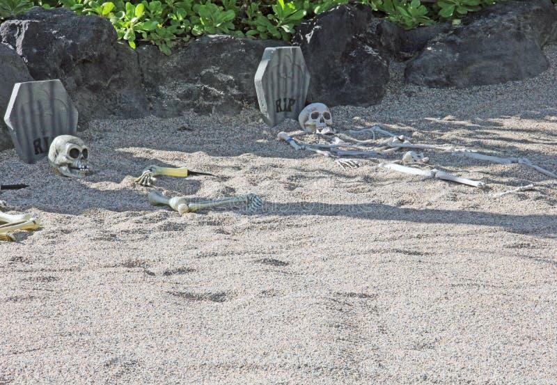 Resto in scheletri dello STRAPPO due di pace sepolti in sabbia fotografia stock