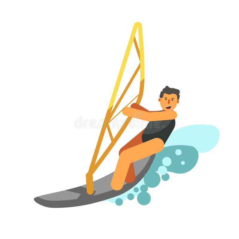 Resto sonriente del muchacho activamente kiting del agua aislado en blanco libre illustration