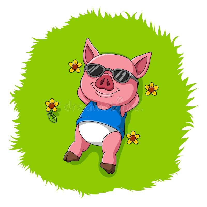 Resto sveglio del maiale sull'erba illustrazione vettoriale
