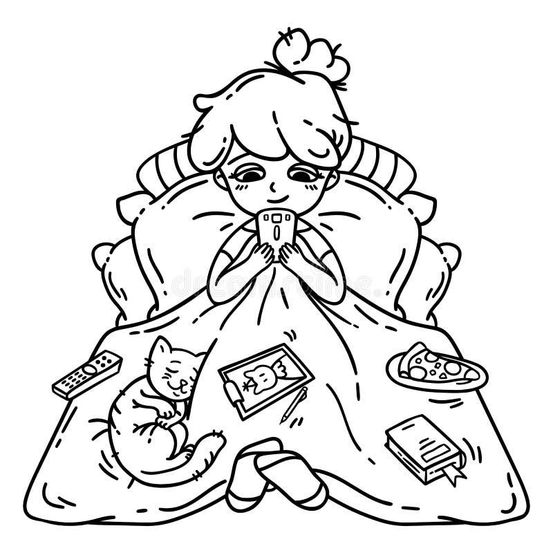 Resto y relajación Objetos aislados resto de la muchacha en el fondo blanco Ilustración del vector Libro de colorante stock de ilustración