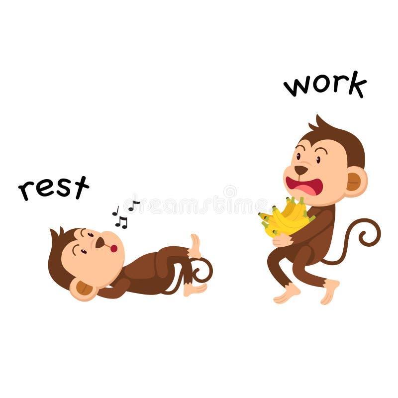 Resto y trabajo opuestos stock de ilustración