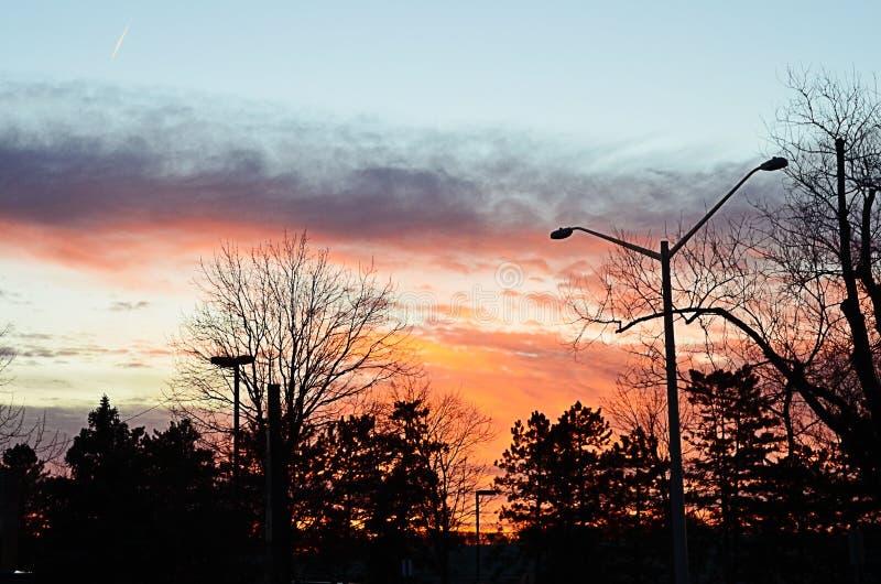 Reston-Sonnenuntergang-Rot und Orange lizenzfreies stockfoto