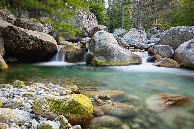 Restonica Valley - Corsica. The Restonica valley, in the mountains to the west of Corte in central Corsica, is one of the most popular destinations in the region royalty free stock photos