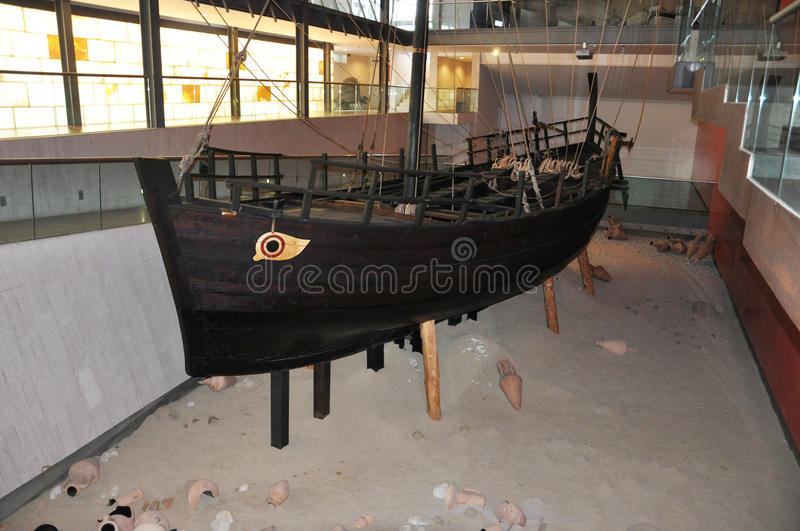 Restoration of the ancient Greek ship royalty free stock images
