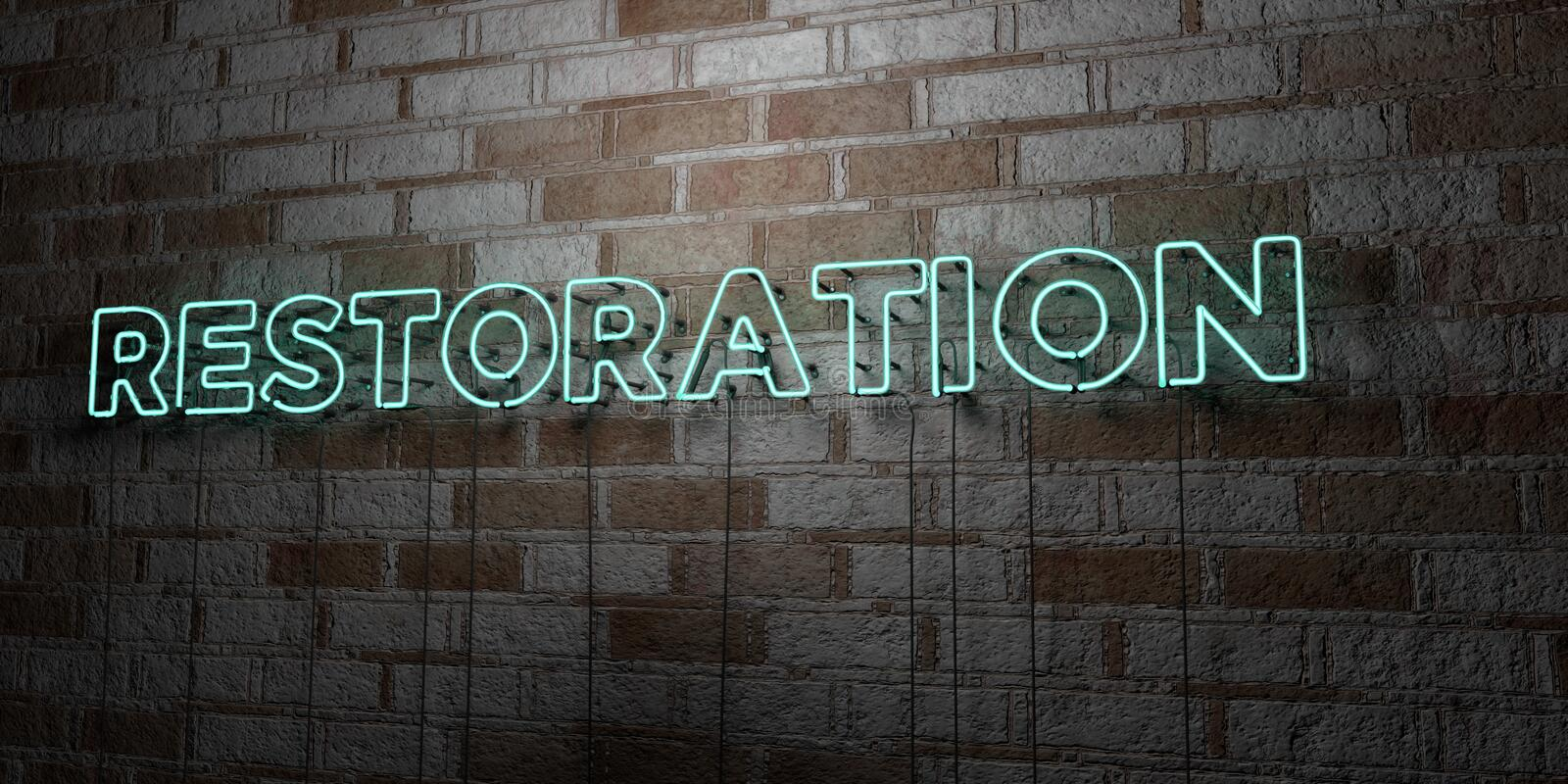 RESTORATION - Glowing Neon Sign on stonework wall - 3D rendered royalty free stock illustration. Can be used for online banner ads and direct mailers royalty free illustration