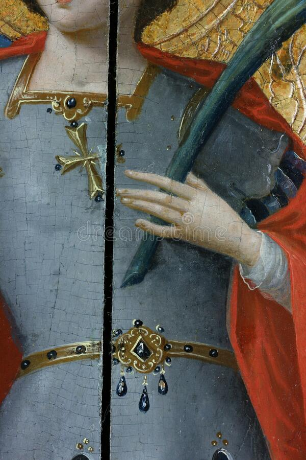 Restoration of painting. fragment with probing in the process of restoration. old painting. stock photography