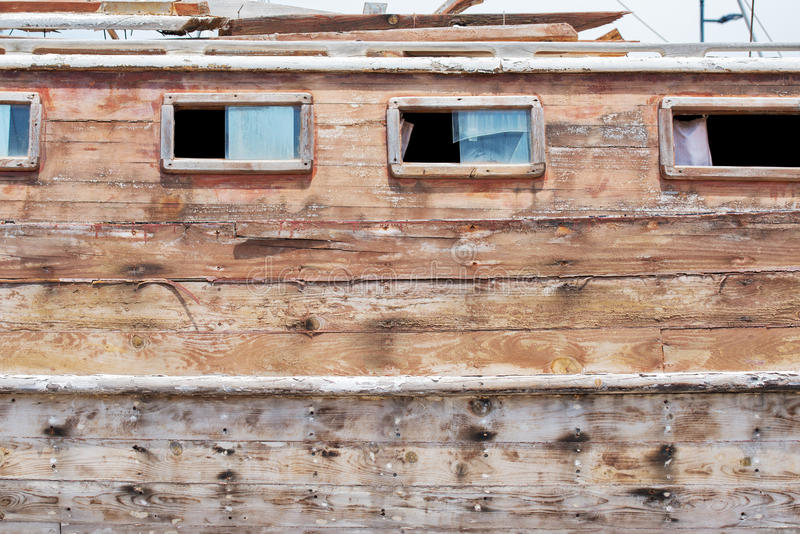 Restoration of wooden yacht stock photo