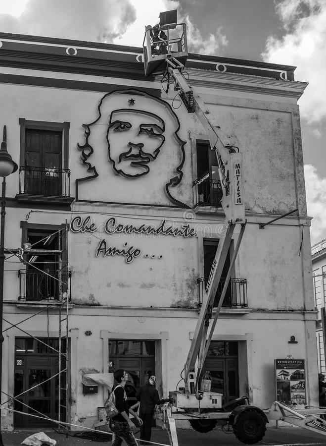 Restoration work on a house showing Che guevara stock images