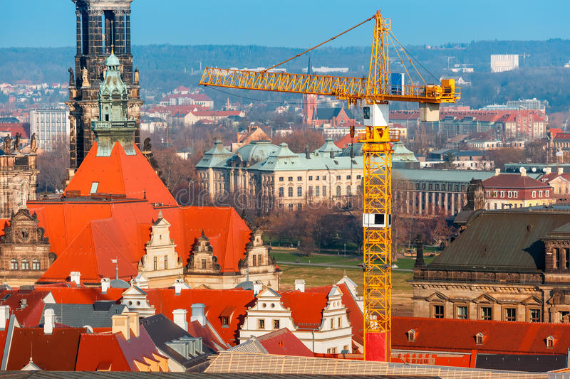 Restoration work in Old Town, Dresden, Germany stock image