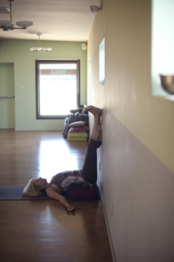 Download Restorative Yoga stock photo. Image of gentle, props - 16209768