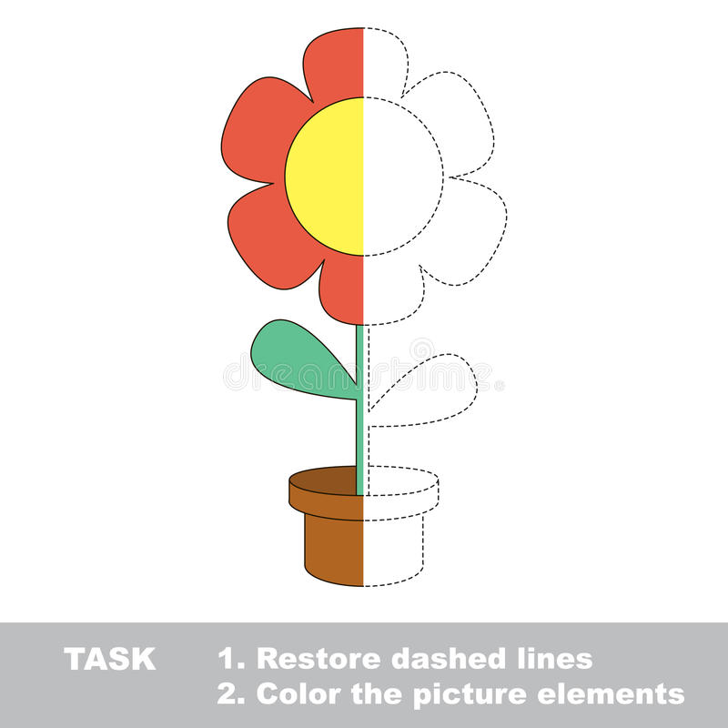 Restore dashed line. Color picture FLOWER by sample. Color elements and fragments by sample. Excerpt to be colored royalty free illustration