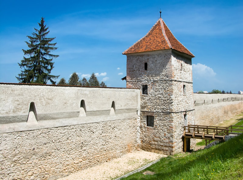 Medieval walls of Fortress of Brasov, Transylvania royalty free stock images