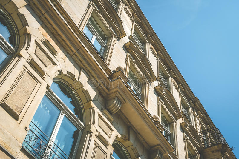Restored facade of old apartment building in Berlin.  royalty free stock images