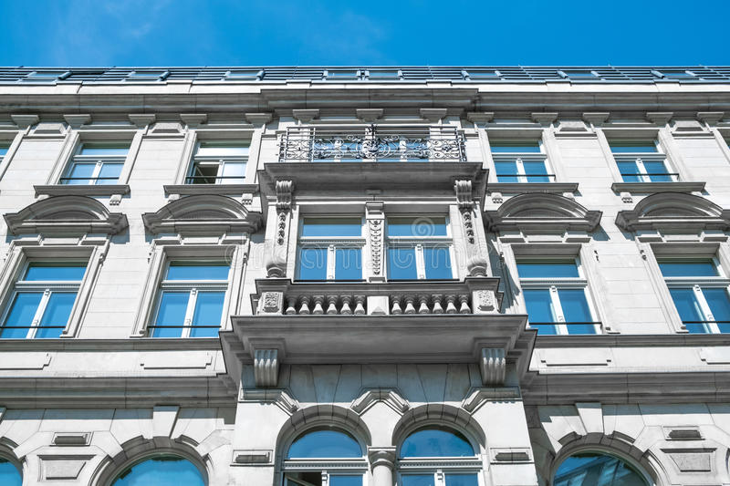 Restored facade of old apartment building in Berlin.  stock photo