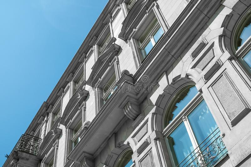 Restored facade of old apartment building in Berlin. House royalty free stock photo
