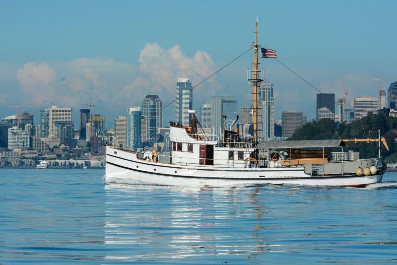 Fishing Yacht transiting Elliott Bay. Restored fishing vessel a yacht - Seattle, WA stock image