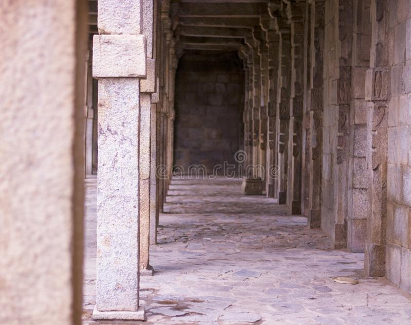 Restored hallways dated back to the delhi sultanate stock photography