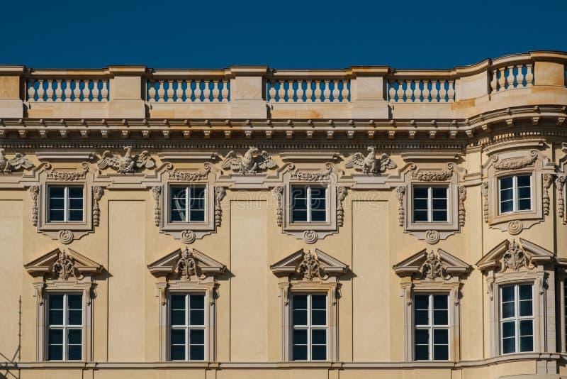 Restored historic building facade of the Berliner Stadtschloss. Berlin, Germany - october 2018: Restored historic building facade of the Berliner Stadtschloss stock photo