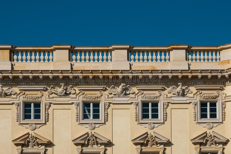 Restored historic building facade of the Berliner Stadtschloss. Berlin, Germany - october 2018: Restored historic building facade of the Berliner Stadtschloss royalty free stock photos