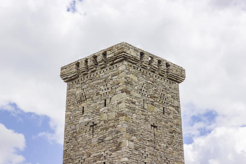 Restored Khoi residential tower, XIV-XVI centuries on the territory of the settlement of the same name. On top of this tower is crowned with a solid masculum stock photo