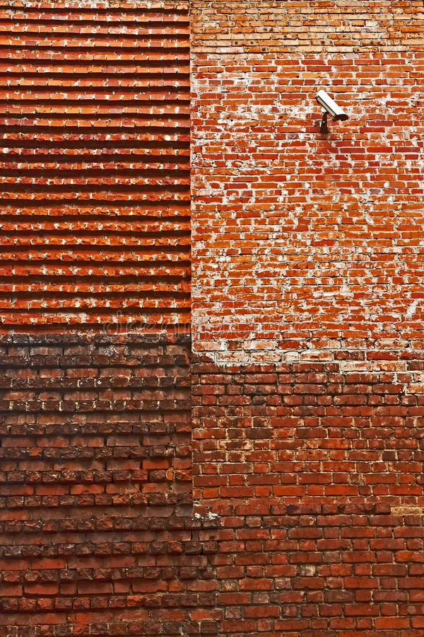Restored medieval brick wall stock photography