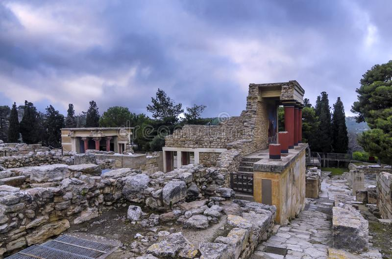 Restored North Entrance with charging bull fresco at the archaeological site of Knossos royalty free stock photography