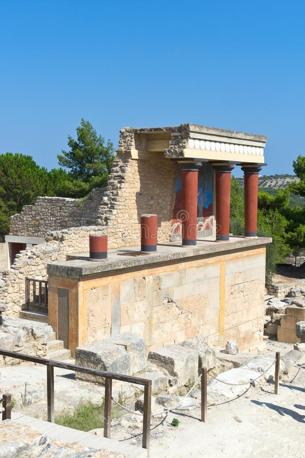 Restored North Entrance with charging bull fresco in Knossos Palace stock image