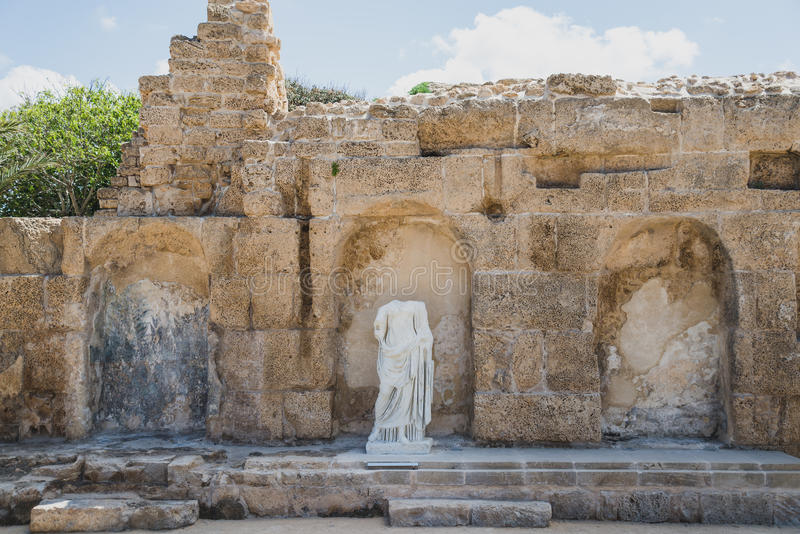 The restored Nympheum in Caesarea, Israel stock images