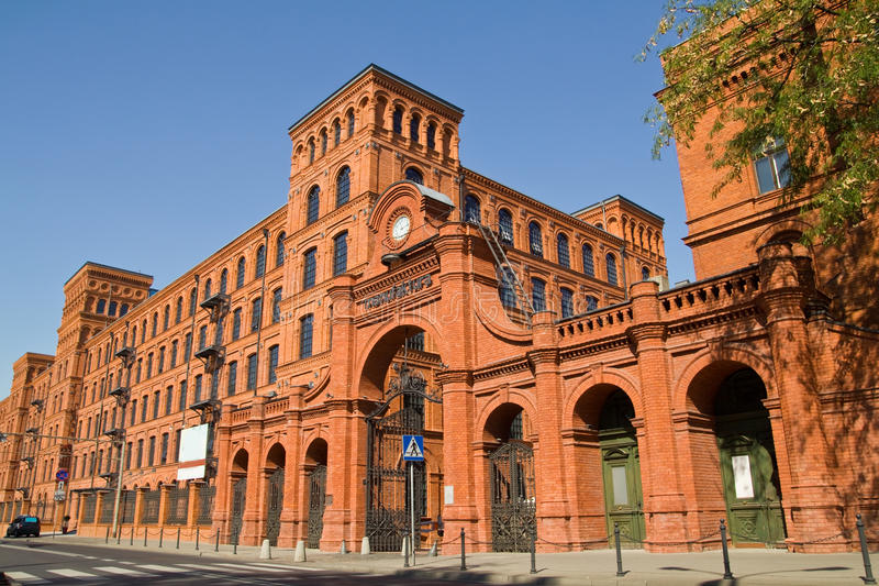 Restored old factory in city of Lodz, Poland stock images