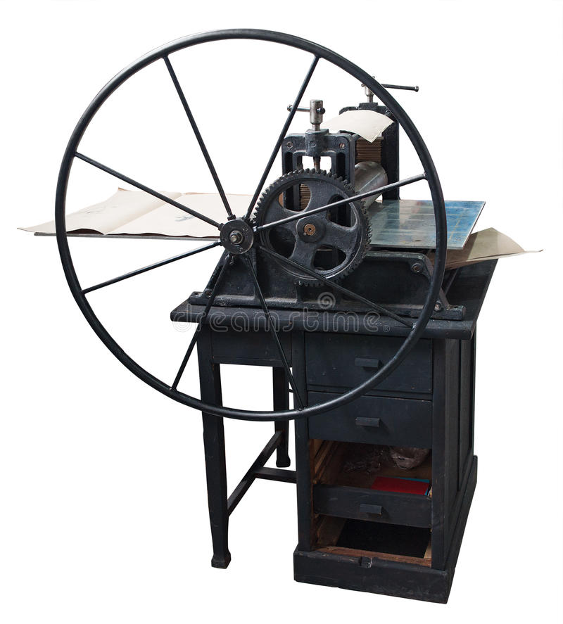 Restored old letterpress at work. Clipping path included stock image