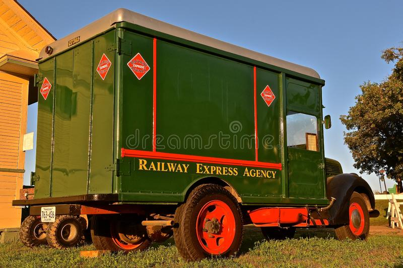 Restored Railway Express Agency truck. ROLLAG, MINNESOTA, September 1, 2018: An old historic Railway Express Agency truck is displayed at the annual WCSTR farm stock photography