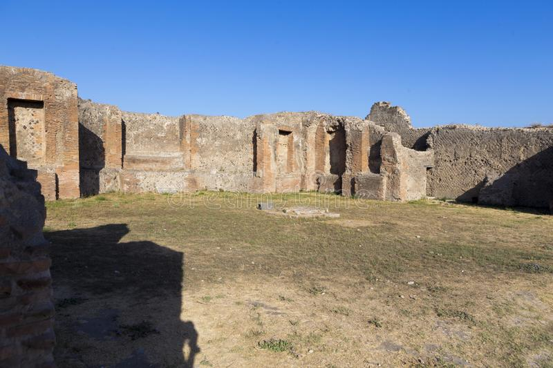 Restored ruins of the Pompeii Forum. From Pompeii city in Italy royalty free stock image