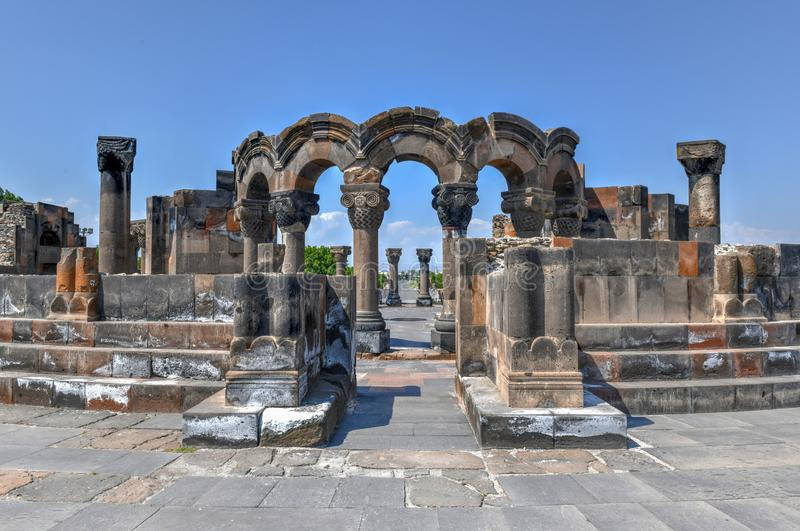 Zvarnots - Armenia. The restored ruins of the temple of Zvarnots the Temple of Vigilant Angels, built in the seventh century in Armenia stock photography