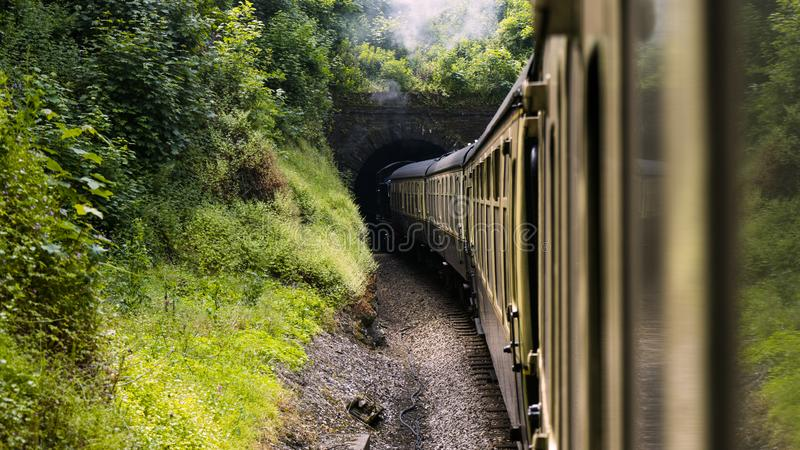Restored Steam locomotive train enters tunnel in picturesque green nature surround.  royalty free stock photography