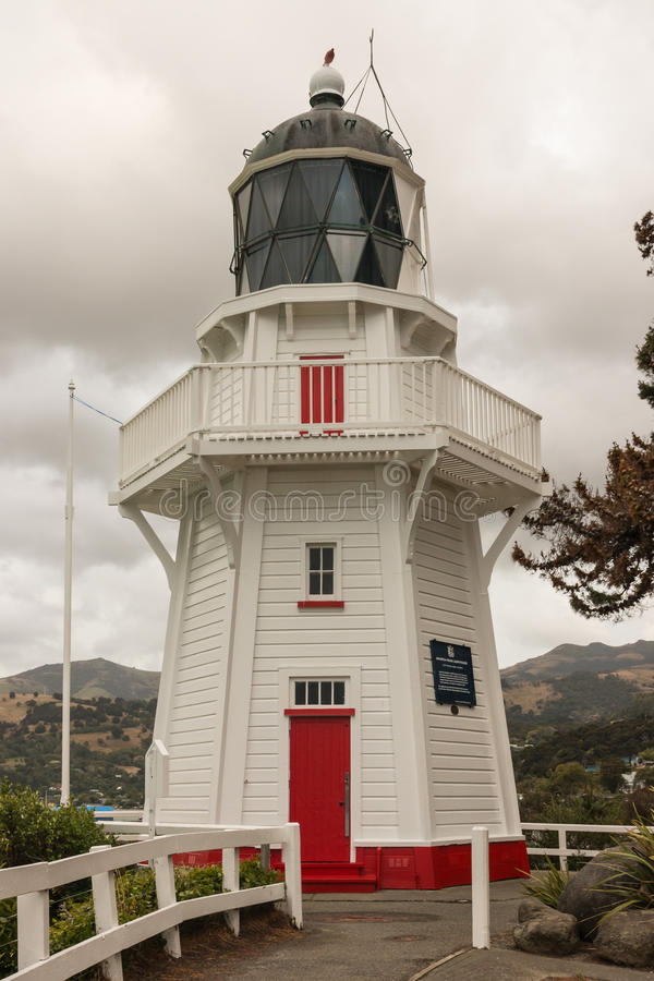 Restored wooden lighthouse in Akaroa on Banks Peninsula royalty free stock image