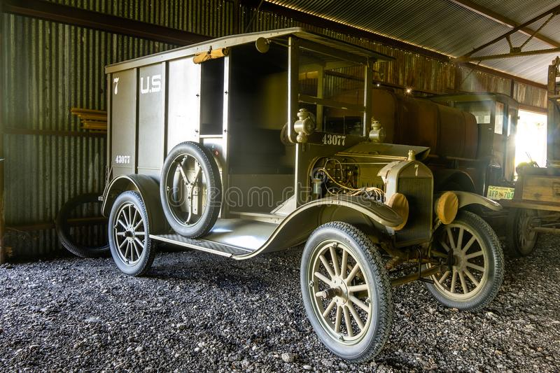 Restored WWI Supply Truck Used By The AEF In France. Kingsbury, Texas/USA - July 6, 2018 - This restored WWI vehicle was taken to the battle fields of WWI by the royalty free stock image