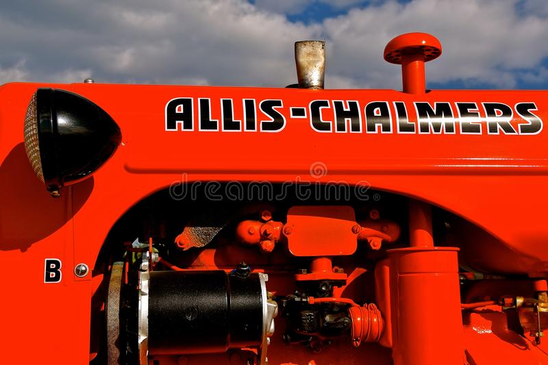 RestoredB Allis Chalmers tractor. ROLLAG, MINNESOTA, Sept 3, 2017: The restored B Allis Chalmers tractor is displayed at the annual WCSTR farm show in Rollag stock photo