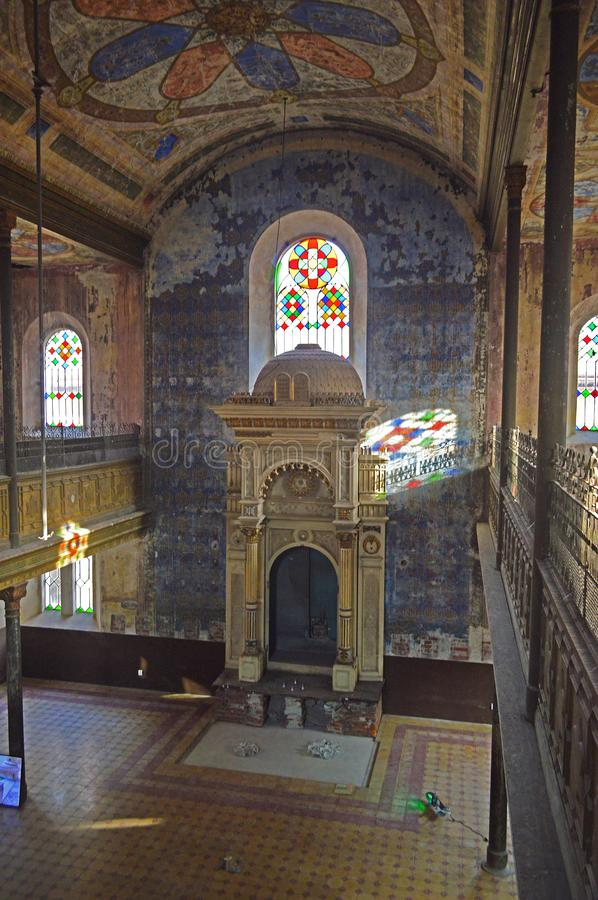 Restoring the dilapidated orthodox synagogue in Košice on Zvonárska street. The oldest of Kosice`s synagogues has been preserved. This beautiful Synagogue stock photos