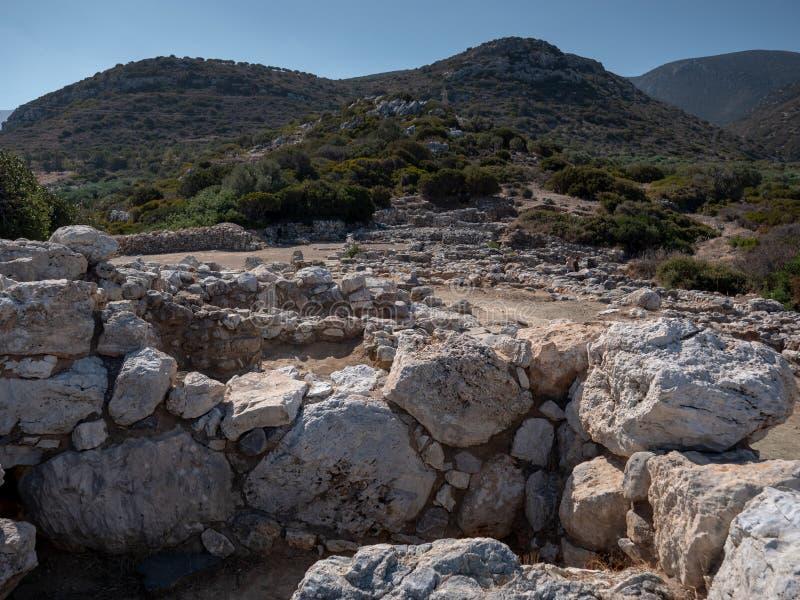 Restos antiguos de la ciudad-estado de Dorian en Lato, NE Creta imagenes de archivo
