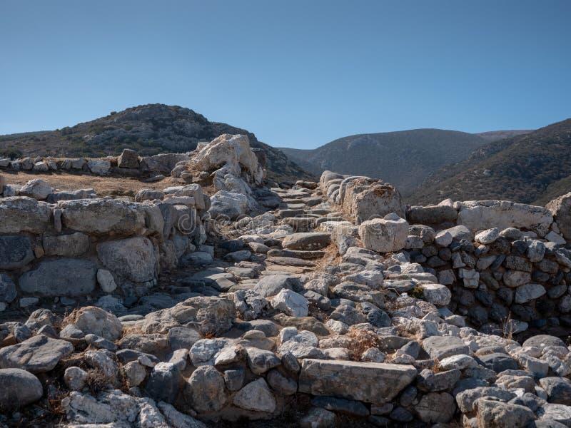 Restos antiguos de la ciudad-estado de Dorian en Lato, NE Creta imagen de archivo