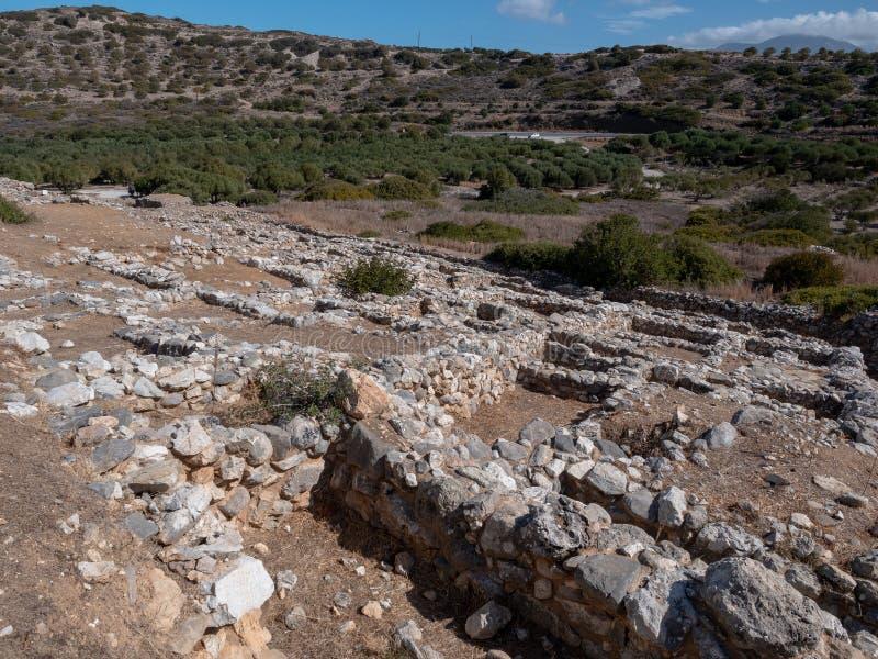 Restos antiguos de la ciudad-estado de Dorian en Lato, NE Creta fotografía de archivo
