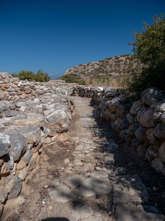 Restos antiguos de la ciudad-estado de Dorian en Lato, NE Creta fotos de archivo