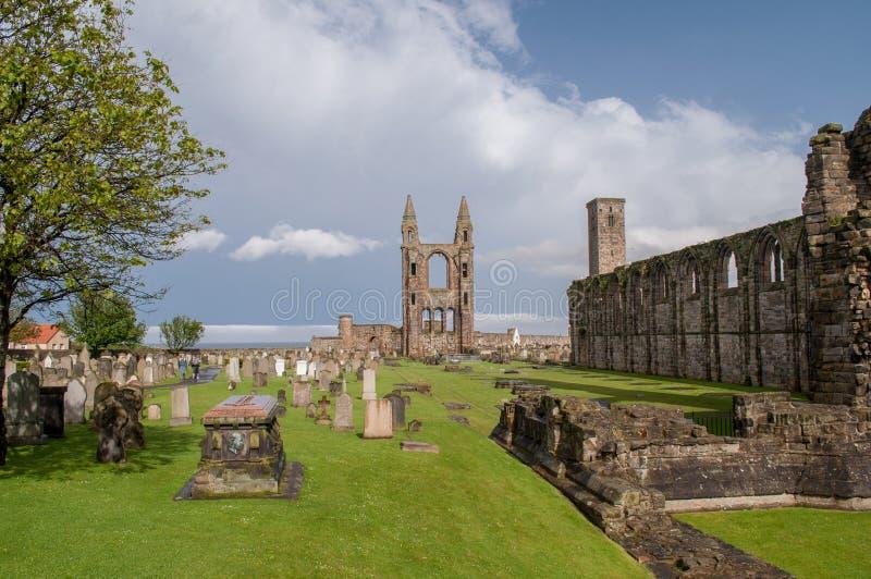 Restos da catedral demulida em St Andrew imagens de stock royalty free