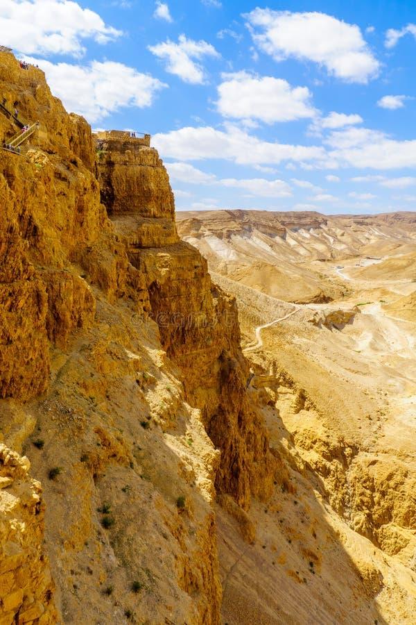 Restos de la fortaleza de Masada imagen de archivo libre de regalías