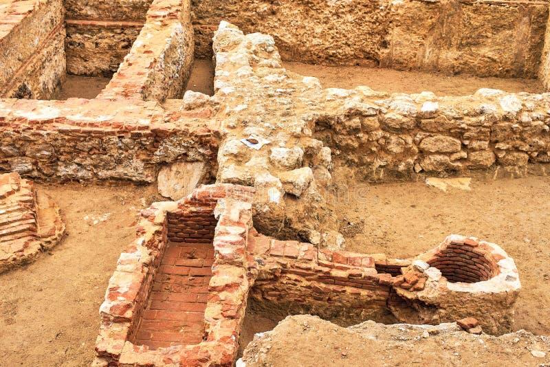 Restos de los sótanos del Palacio Godoy Madrid, España fotografía de archivo libre de regalías