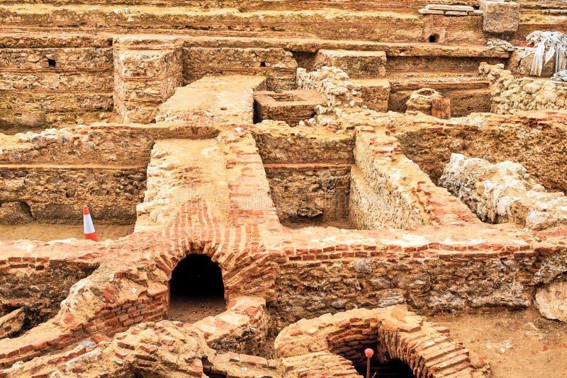 Restos de los sótanos del Palacio Godoy Madrid, España imagen de archivo