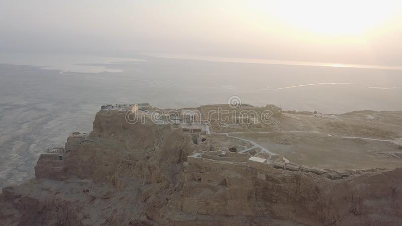 Restos del palacio de los herods, maniobra de exploración del abejón, temprano por la mañana fotos de archivo libres de regalías
