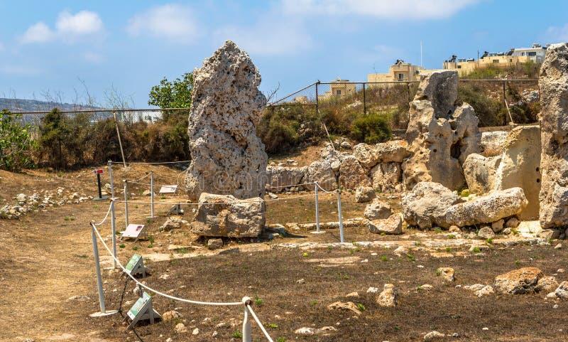 Restos dos templos de Skorba foto de stock