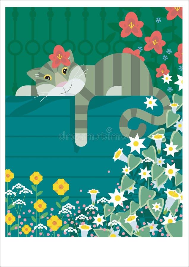 Restos perezosos del gato stock de ilustración